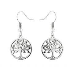 Rhodium plated drop earrings with a round celtic tree design