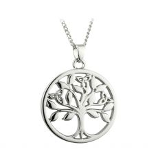 A Tree of Life Silver Plated Pendant, comes with a silver plated chain, Designed in Ireland By Solvar