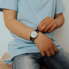 Stork & Co Black/White Feather Watch child wearing watch