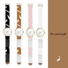 Stork & Co Tan/White Feather Watch