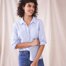 White Stuff Emilia Cotton Shirt Grey model