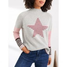 The White Stuff Sally Star Recycled Jumper hand in pocket
