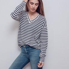 Theo & George Lauren V Neck Cashmere Sweater Navy Stripe