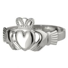 Solvar Puffed Heart Claddagh Ring