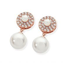 Tipperary Crystal Pave Circle Pearl Earrings