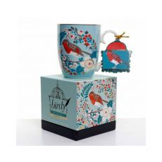 Tipperary Crystal Single Birdy Robin Mug