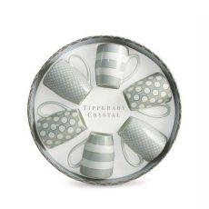 Tipperary Crystal Spots & Stripes Grey Set of 6 Mugs