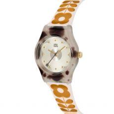 Orla Kiely Baby Bobby Orange Tall Flower Watch  Front