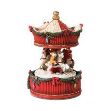 We Wish You A Merry Christmas Carousel Snow Globe