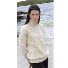 West End Knitwear Natural  Roll Neck Aran Sweater