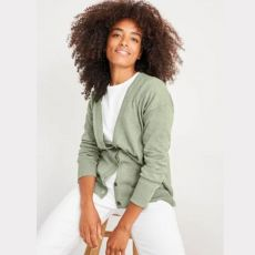 White Stuff Acorn V Neck Green Cardigan on model