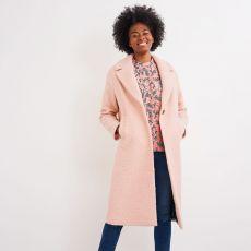 White Stuff Boucle Pink Midi Coat