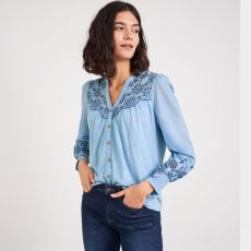 White Stuff Broderie Blue Jersey Shirt