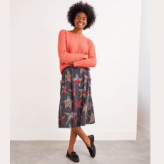 White Stuff Camilla Grey Midi Skirt on model