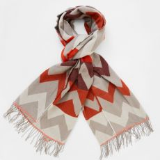 White Stuff Chevron Red Scarf