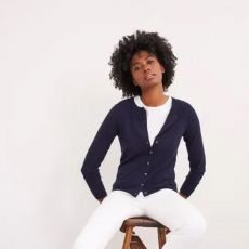 White Stuff City Plain Navy Cardigan  front