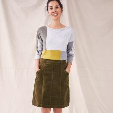 White Stuff Josie Organic Cord Khaki Skirt model