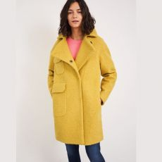 White Stuff Jude Boucle Yellow Coat