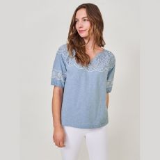 White Stuff Kerry Lace Puff Sleeve Top