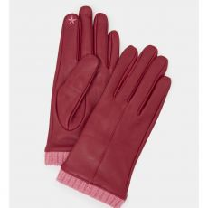 White Stuff Leather Gloves with Wool Cuff Plum