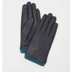 White Stuff Leather Gloves Wool Cuff Navy