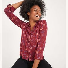 White Stuff Loganberry Collared Shirt on model