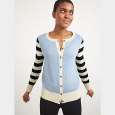 White Stuff Lola Crew Neck Blue Cardigan