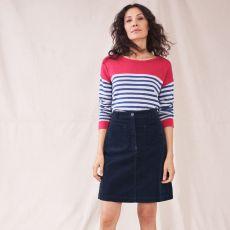 White Stuff Melody Organic Cord Navy Skirt