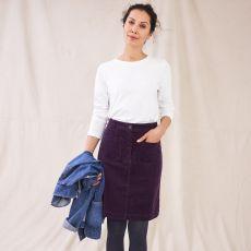 White Stuff Melody Organic Cord Purple Skirt