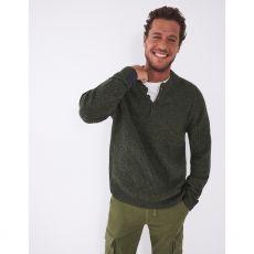 White Stuff Men's Chilton Lambswool Mix Henley Jumper Green