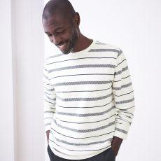 White Stuff Men's Jacquard Natural Stripe Top