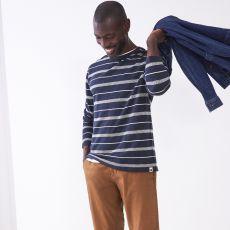 White Stuff Men's Jacquard Navy Stripe Top