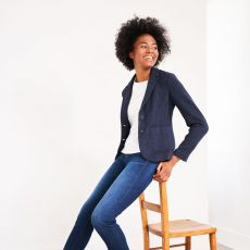 White Stuff Soho Navy Blazer on model
