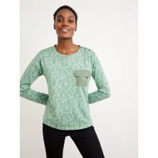 White Stuff Utility Jersey Top Green front model