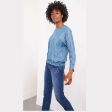 White Stuff Willa Denim Top on model