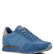 Woden Nora III Leather Trainers Vintage Blue